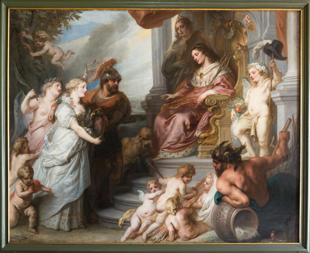 Schilderij Allegorie op het verzoek van Brabant om toe te mogen treden als lid van de Staten-Generaal der Republiek, schilder Theodoor van Thulden 1647